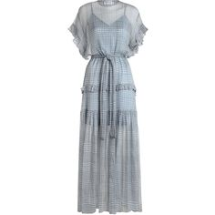 ZIMMERMANN Cavalier Frilled Dress ($745) ❤ liked on Polyvore featuring dresses, flutter-sleeve dress, blue dress, transparent dress, jersey dress and blue midi dress