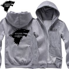 Game of Thrones, Winterfell, Winter is coming, Direwolf, Thick Zip Up Hoodies - free shipping worldwide