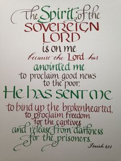 Isaiah 61 1 Ordination Gift, Seminary Graduation, Pastor Gift, Priest Gift Colors of your choice Hand Lettered on heavy watercolor paper by Biblecalligraphy on Etsy Bible Quotes, Bible Verses, Bible Art, Scriptures, Pastor Appreciation Quotes, Pop Can Crafts, Isaiah 61, Gifts For Pastors, Bible Images