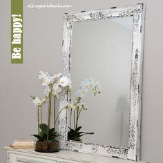 Me he mirado en mi nuevo espejo con marco blanco y me he visto feliz. Con aspecto envejecido, su madera y cristal son de primera calidad y mide 140x90 centímetros. http://elhogarideal.com/es/decoracion-y-complementos/1030-espejo-charme.html#.VhIbKXrtmko