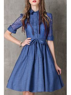 SHARE & Get it FREE | Lace Spliced Turn Down Collar Half Sleeve Denim DressFor Fashion Lovers only:80,000+ Items • New Arrivals Daily Join Zaful: Get YOUR $50 NOW!