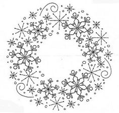 Snowflake Wreath Rubber Stamp