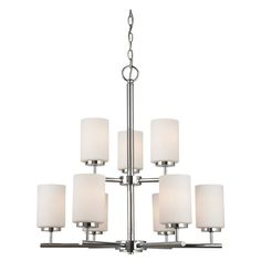 """Sea Gull Lighting 31162 9 Light 26"""" Wide Pillar Candle Chandelier with Etched Gl Chrome Indoor Lighting Chandeliers"""
