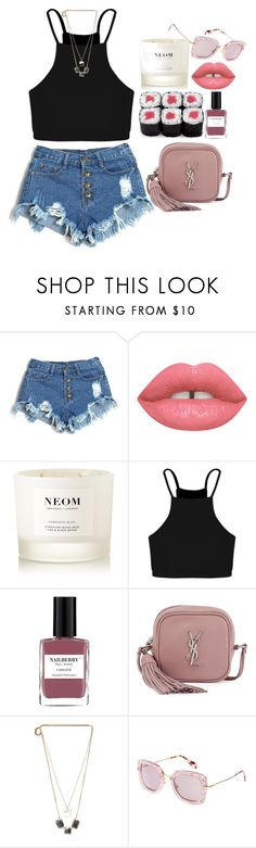 """""""Electric love"""" by amoiblog ❤ liked on Polyvore featuring NEOM Organics, Boohoo, Nailberry, Yves Saint Laurent, Maison Margiela and Miu Miu"""