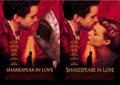 parodie affiches de films avec des requins shakespeare in love
