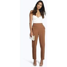 Boohoo Farah High Waist Pin Tuck Tailored Trousers ($30) ❤ liked on Polyvore featuring pants, tan, tapered pants, high waisted white trousers, tan pants, white palazzo pants and sport pants