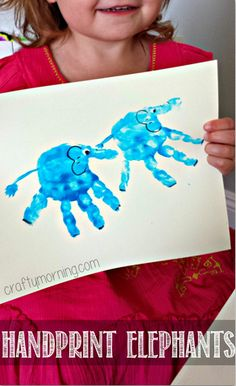 Handprint Elephant Craft for Kids to Make - Fun art project for learning about… Toddler Crafts, Preschool Crafts, Craft Activities, Zoo Crafts, Baby Crafts, Kids Crafts, Cool Art Projects, Projects For Kids, Craft Projects