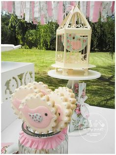Cute cookie pops at a shabby chic birds baptism party! See more party ideas at CatchMyParty.com!