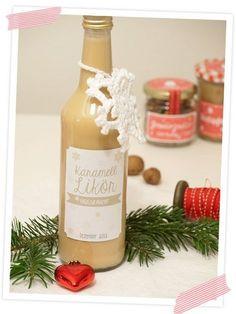 Leckerer weihnachtlicher Karamell-Likör. Mit Rezept und Etiketten zum…