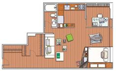 open plan apartment plan with space dividers