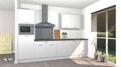 Comfort opstelling Keuken van #voortman #keukens, rechte opstelling inclusief 5 apparaten van #etna