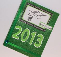 Sparkly green Best Wishes handmade Graduation card by AnLieDesigns, $2.50
