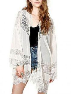 20a97560bc6 2017 Autumn Women Casual Vintage Boho Kimono Cardigan Lace Crochet Chiffon  Loose Blouse Shirt Plus Size Tops Beige Black White