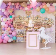 This birthday party setup is just so sweet with the pastel colours and the fantastic carousel backdrop - lots of attention to detail in this gorgeous carousel birthday party. Birthday Party Images, Carousel Birthday Parties, Carousel Party, Carnival Themed Party, Circus Birthday, Birthday Party Decorations, Circus Party, Wedding Decorations, Happy Birthday