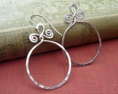 Big Sterling Silver Hoop Earrings Circle With by nicholasandfelice