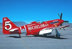The Red Baron was a North American P-51D Mustang NL7715C.  On August 14, 1979, Hinton set the piston-driven aircraft 3-kilometer world speed record at 499.018 mph at Tonopah, Nevada, making Hinton, age 27, the youngest person ever to capture the speed record.   Powerplant: Rolls-Royce Griffon V-12 liquid-cooled piston engine, 3,000 hp (2,200 kW), with 6-bladed Rotol contra-rotating propeller.