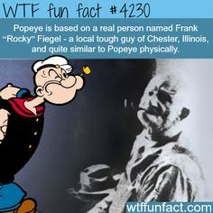 "Frank ""Rocky"" Fiegel, the real life inspiration for Popeye - WTF fun facts Wow Facts, Wtf Fun Facts, True Facts, Funny Facts, Random Facts, Crazy Facts, Trivia Facts, Movie Trivia, Movie Facts"