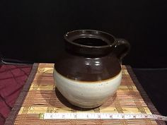 Brown-Tan-Pottery-Stoneware-Crock-Pitcher-Jug-With-Blue-2-6-1-2-x7