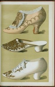 """Litografía: """"Imperial shoe, with lace, gold embroidery, beadwork, and knot of gold lace and tassels; Algiers slipper with covering of patterned gold; evening """"Oxford"""" shoe (1900)."""" Artist: T. Watson Greig"""