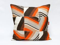 This one of a kind patchwork cushion cover is handmade with love from original vintage fabrics. approximate dimensions: 45x45 cm / 18x18  Lined on the