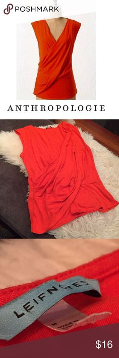 Anthropologie Orange Leifnotes Wrap Blouse Anthropologie Orange Leifnotes Wrap Sleeveless Blouse. 16 inch at the waist. 18 inch bust. 24 inches long. Vibrant color. Worn just a few times. No flaws or stains. Feel free to make an offer or bundle & save! Anthropologie Tops Blouses