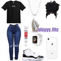 "✨19k on Instagram: ""A chill/baddie look 🤩 (Follow @__slayyy.fits for more like this)"" Swag Outfits For Girls, Casual School Outfits, Cute Comfy Outfits, Teenage Girl Outfits, Cute Casual Outfits, Teen Fashion Outfits, Teenager Outfits, Dope Outfits, Stylish Outfits"