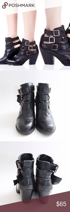 """Black Leather Cutout Heeled Booties Steve Madden 'Repp' ⑊ Size 6 (true-to-size)  ⌁ Measurements: 2.75"""" heel height 4"""" shaft height  ⌁ Material: leather upper PU lining & sock man made sole  ⌁ Condition: Used, still in good condition. Has some minor scuffs on the heels. One buckle prong is missing on the right shoe.  Comment below if you have any questions. Please make all offers using the """"offer"""" button. No trades. No holds. Comes from a smoke-free/pet-free home. Not responsible for…"""