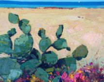 Framed Cactus Paintings Abstract, Cactus Flower Painting, Cactus on the Beach, Cactus Art, Abstract Cactus, Gift Ideas