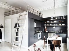 Paint your kitchen in a contrasting color to distinguish it from the rest of the space.