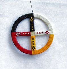 Porcupine Quilled Medicine Wheel by RedbushArt on Etsy, $25.00