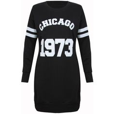 Black Chicago Longline Sweater Dress (30 BRL) ❤ liked on Polyvore featuring dresses and sweater dress