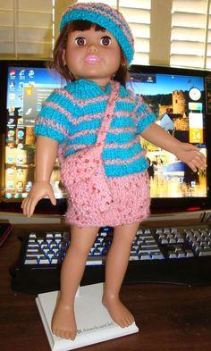 Ladyfingers' pattern for AG: mini skirt, striped sweater, messenger bag on knittingparadise.com