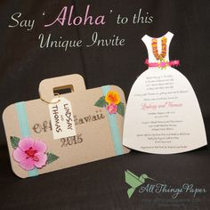 Say 'Aloha' to this wonderful Hawaii-themed invitation.  Being unique doesn't mean being super expensive.  Give us a call today to start designing your handmade invites! www.allthingspaperink.com | (847) 882-8142
