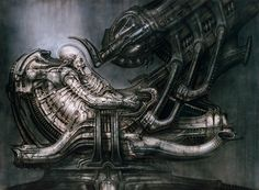 The iconic space jockey design by H.R Giger. The origin of which we are soon to find out...