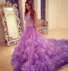 Luxurious Purple Long Prom Dress - A-Line Sweetheart Sleeveless Beading Flowers,Mop the floor long dress,Off the shoulder dress