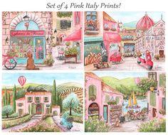 Euorpe Travel Art For Girl, Adorable Italian Girl Gift Idea, Custom Girl's Name, Set of 4,  Personalized, Baby Shower Gift, Baby Nursery Art