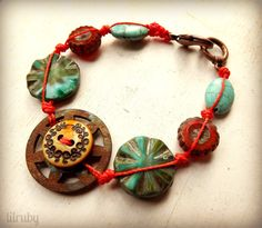 Knotted bracelet with gear & button