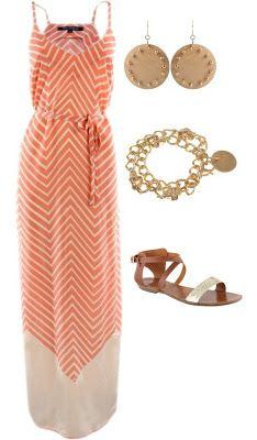 Coral chevron striped maxi dress .maxi dress #alice257891 #style for women #womenfashion .www.2dayslook.com