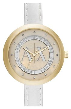 Women's AX Armani Exchange Crystal Index Logo Dial Watch