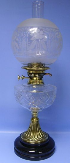 victorian cut glass veritas and brass oil lamp with etched globe shade - photo angle #5