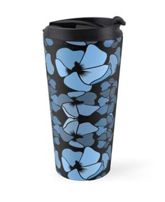 Art fot travelers. Art deco midnight blue travel mug. Fashionable and sassy design. High quality product designed by independent artist. Perfect gift for her.#ArtForTravelers