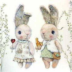 Watercolor illustration with toy rabbit Cute Illustration, Watercolor Illustration, Girl Watercolor, Lapin Art, Bunny Art, Vintage Easter, Cute Drawings, Cute Art, Cute Pictures