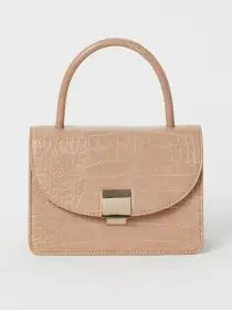 H&M Women Beige Crocodile-Patterned Handbag