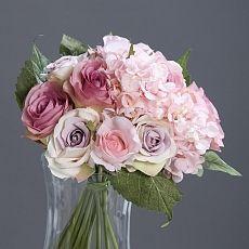 Buchet trandafiri si hortensii artificiale roz - 35 cm