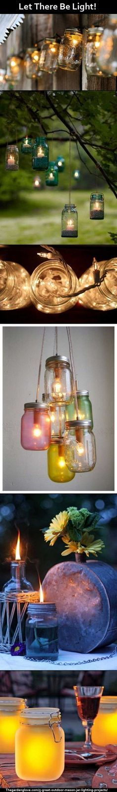 5 Great Outdoor #Mason Jar Lighting #Projects. Click through to the page - there is a tutorial for each project.