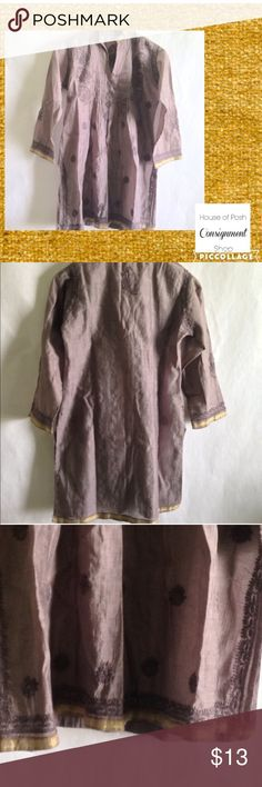 BOGO FREE Light goldish purple and gold TUNIC STYLE KURTI. 35 in from shlder to hem. Bust 40 HAND STITCHED DESIGN. GREAT FOR VACAY LITE WEIGHT FABRIC. No stretch. Very good condition Tops Tunics