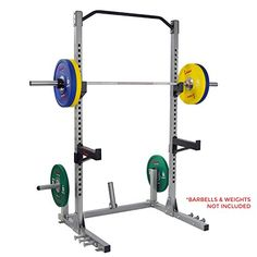 Sunny Health & Fitness Power and Squat Rack with High Weight Capacity, Olympic Weight Plate Storage and Swivel Landmine and Power Band Attachment, Gray Gym Rack, Plate Storage, Olympic Weights, Bar Workout, Heavy Weight Lifting, Lifting Workouts, Pull Up Bar, Power Rack, Squats