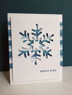 This new snowflake die from Simon Says Stamp  is so much fun!!  I started off making ONE card with striped paper behind a snowflake...only...