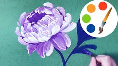 Easy way to paint  the Peony,  painting by a round brush, painting for beginners - YouTube