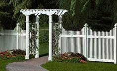 vinyl picket fence with arbor